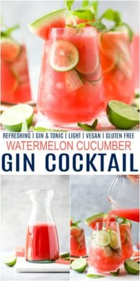 pinterest image for refreshing watermelon cucumber gin cocktail