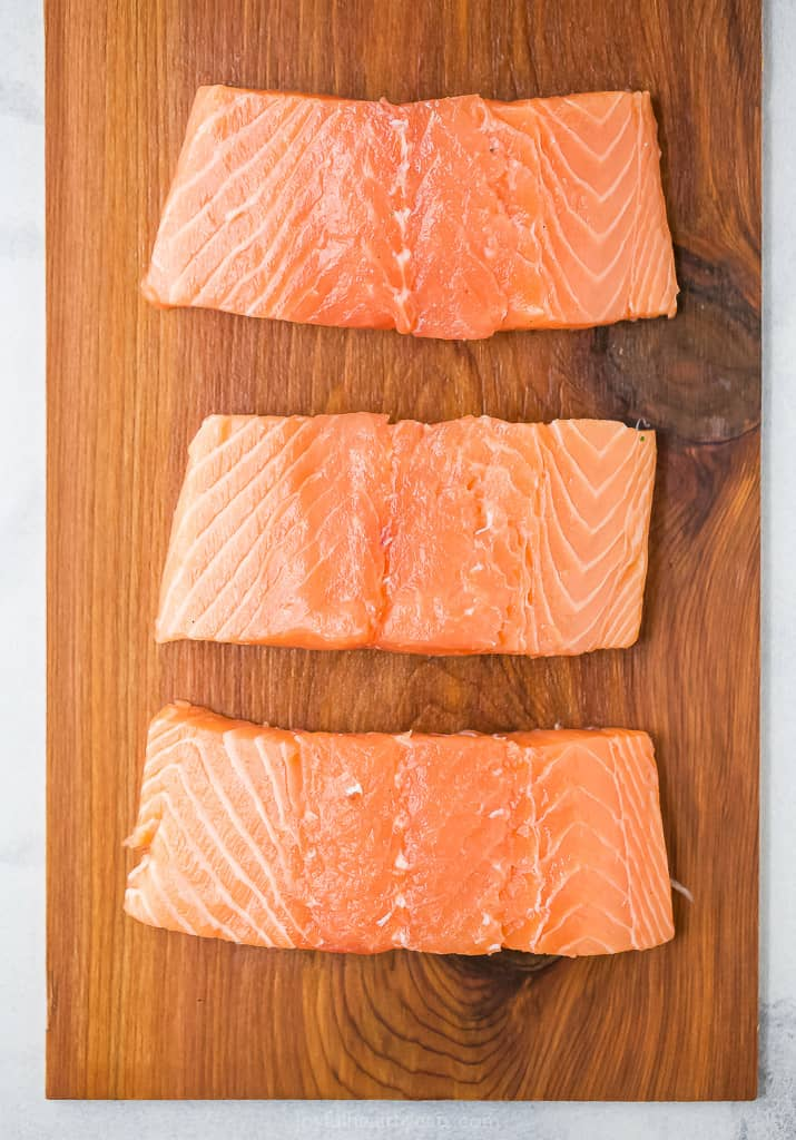 fresh salmon on a cedar plank