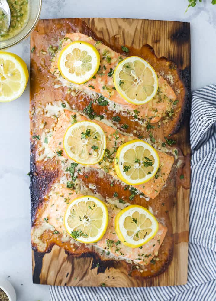 cedar plank salmon grilled on a plank topped with honey garlic sauce