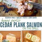 pintereste image for honey garlic cedar plank salmon