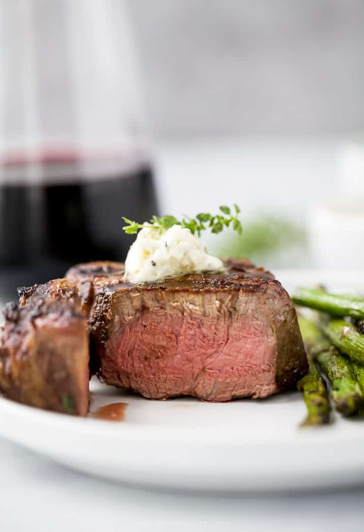 grilled filet mignon steak on a plate