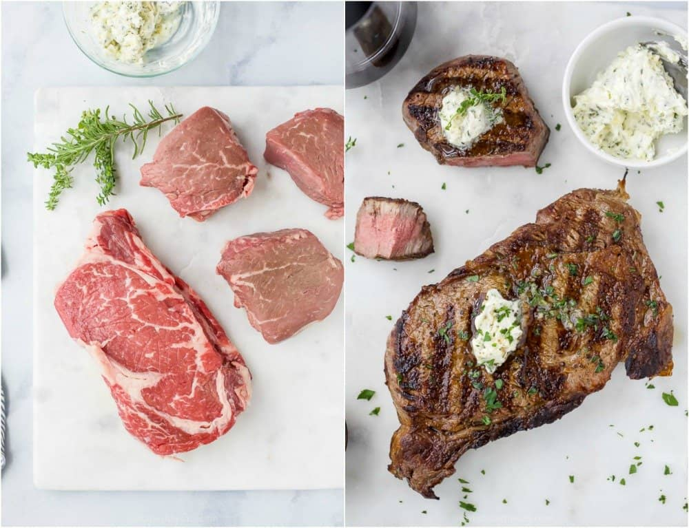 side by side photos of raw steaks and perfectly grilled steaks