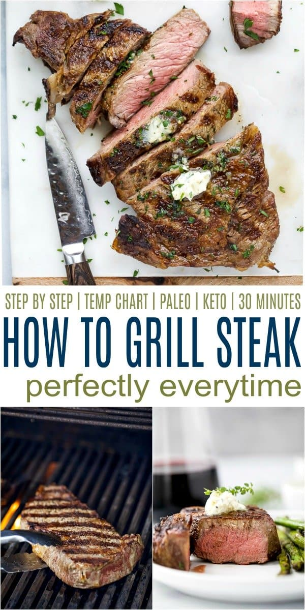 Steak on a grill, sliced on marble counter and on a white plate.