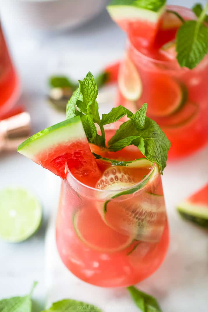 close up photo of refreshing watermelon cucumber gin cocktail