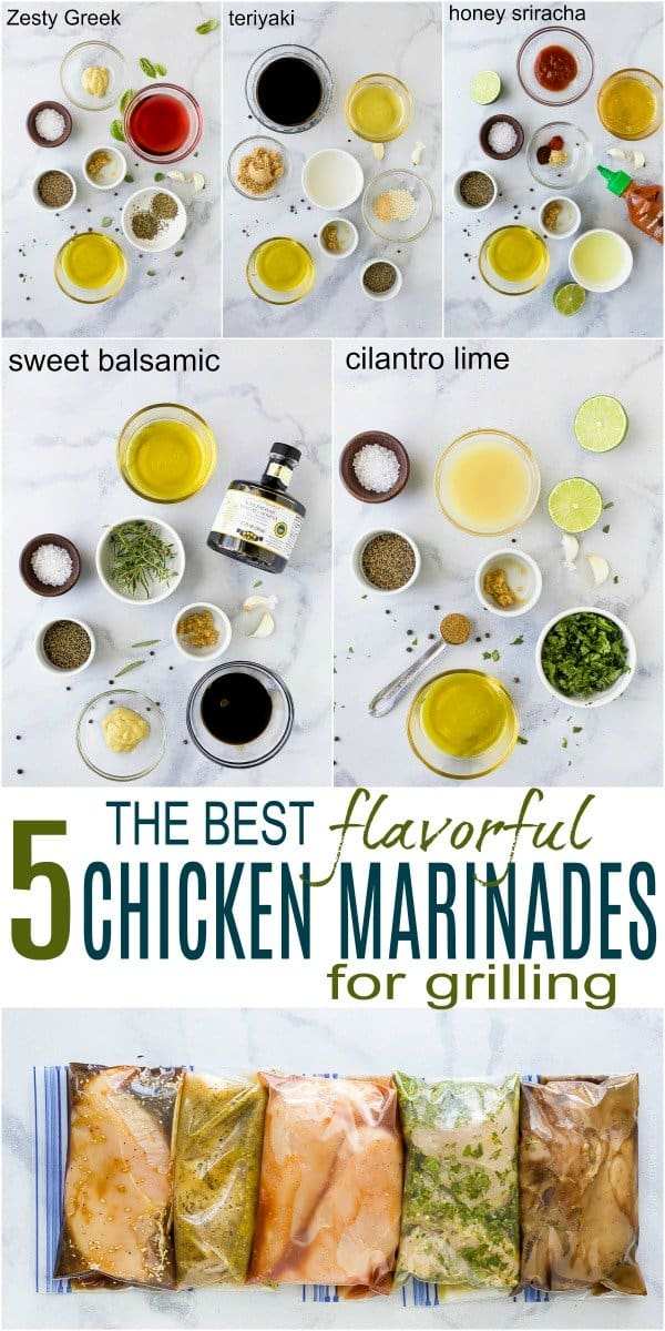 pinterest image for 5 flavorful chicken marinades for grilling