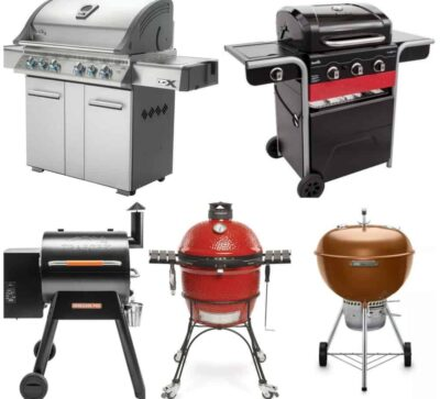 a collage of gas, charcoal and wood pellet grills