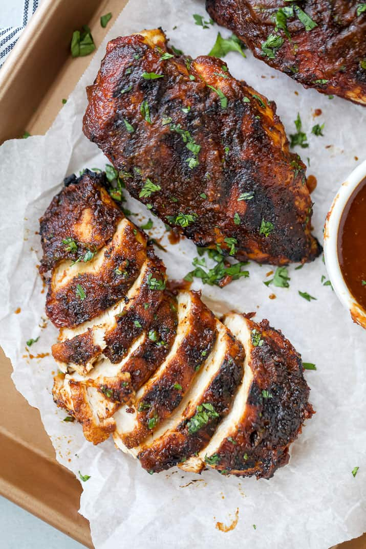 sliced pieces of the best ever bbq chicken