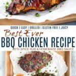 pinterest image for best ever bbq chicken recipe with homemade bbq sauce