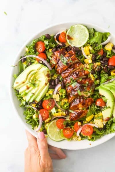 30 minute bbq chicken salad with cilantro lime dressing