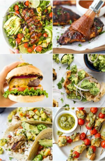 feature collage for 30 quick easy grill recipes