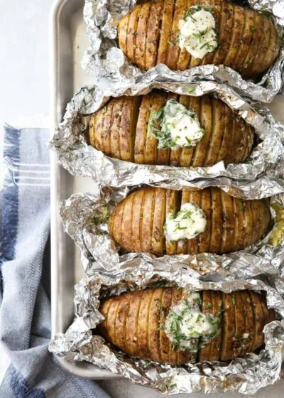 Grilled Hasselback Potatoes with Chive Butter
