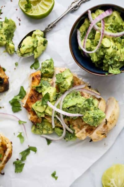 overhead photo of cilantro lime chicken with avocado salsa