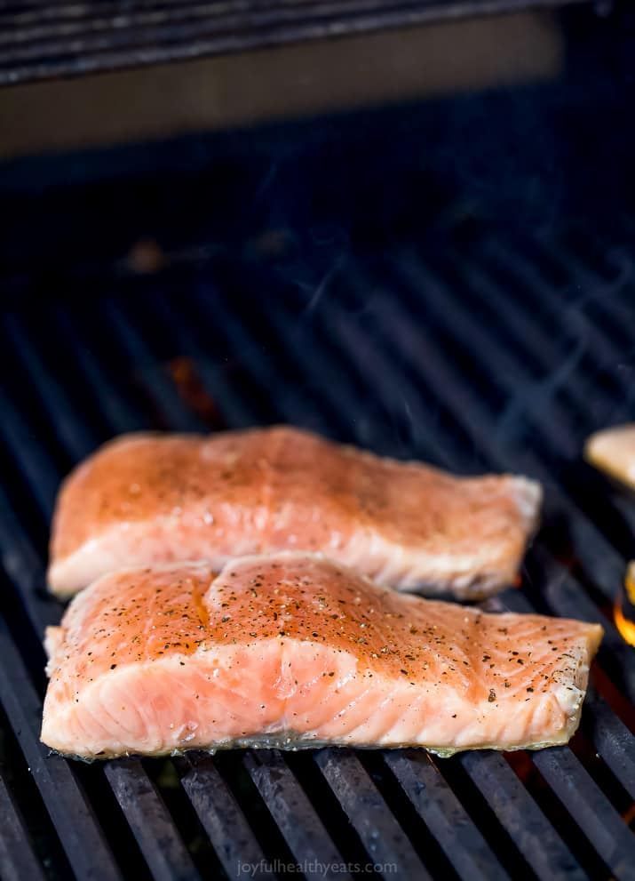 fresh salmon fillets on the grill