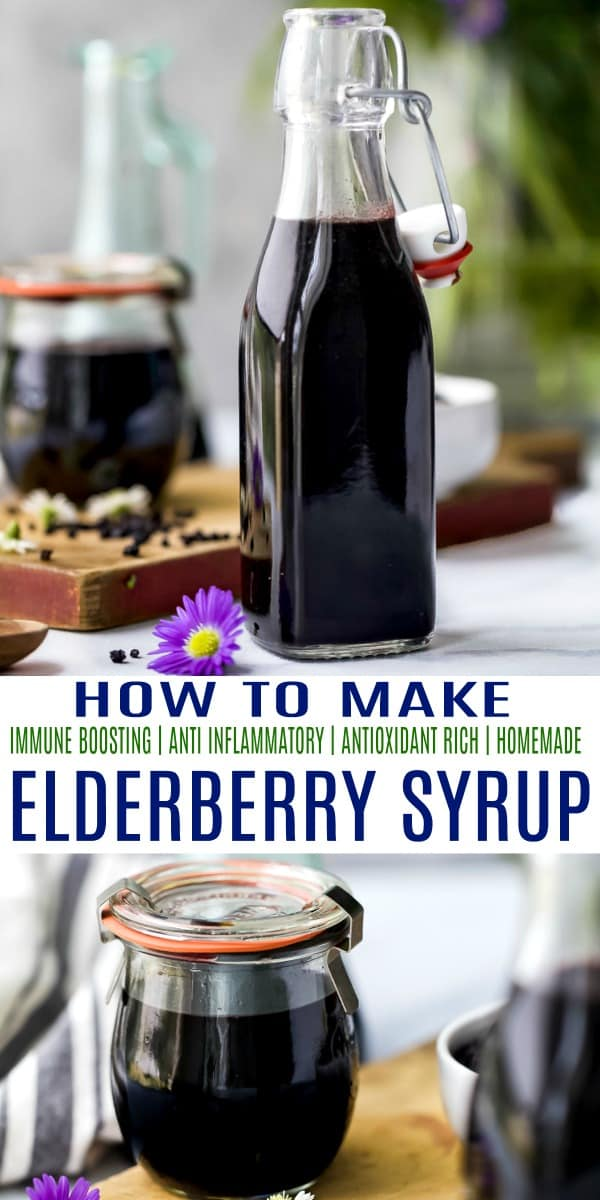 pinterest image for how to make elderberry syrup