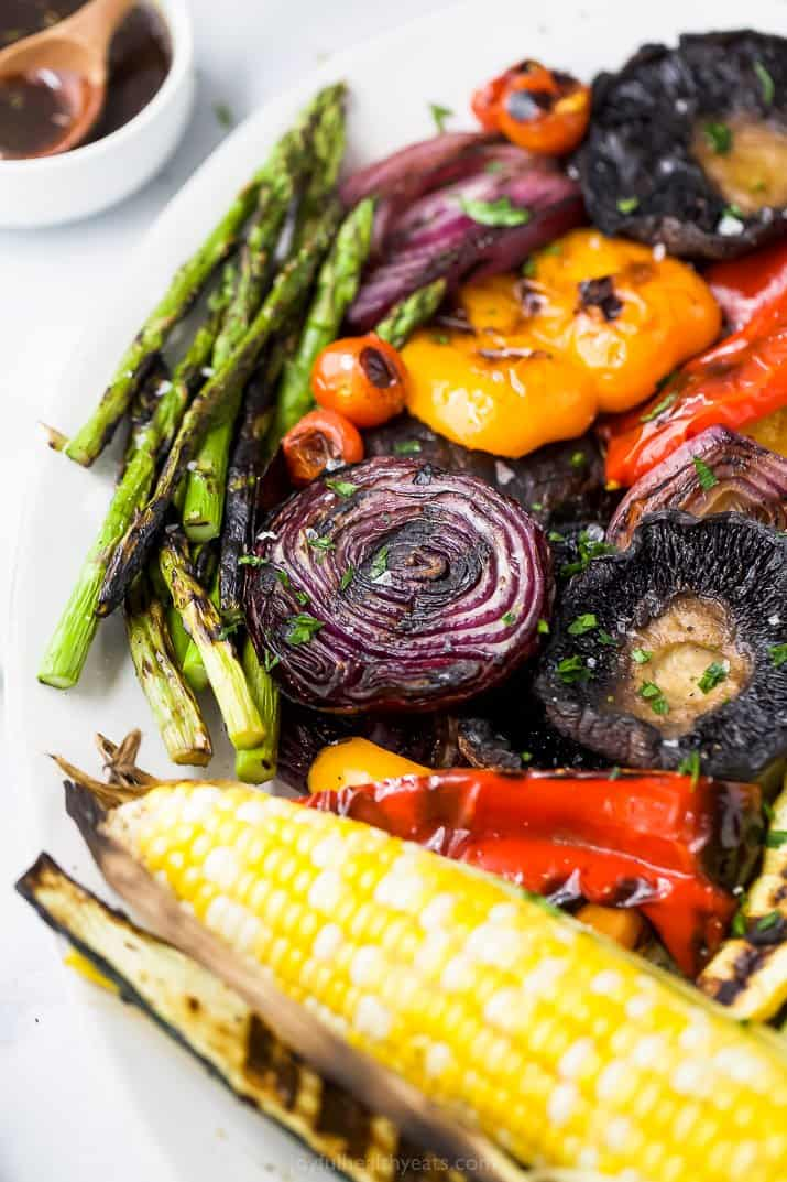 closeup side shot of a platter filled with the best grilled vegetables