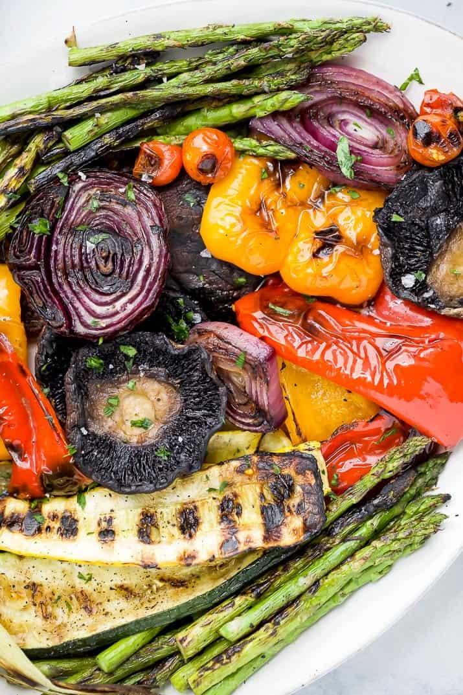 close up of best grilled vegetables on a platter