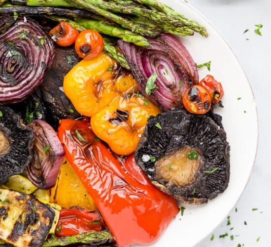 closeup of best grilled vegetables with balsamic dressing