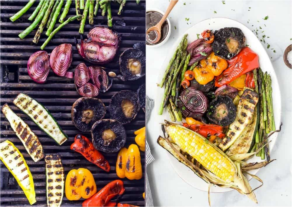 vegetables being grilled and a platter filled with finished grilled vegetables