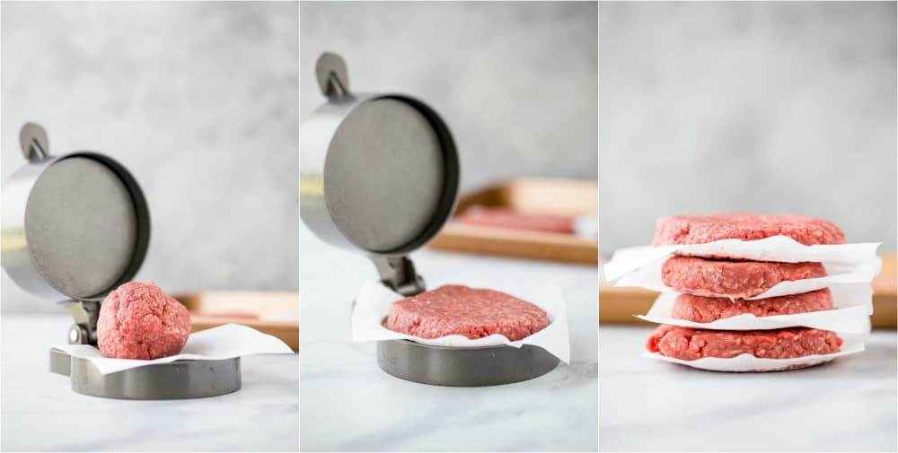 steps of how to form burger patties