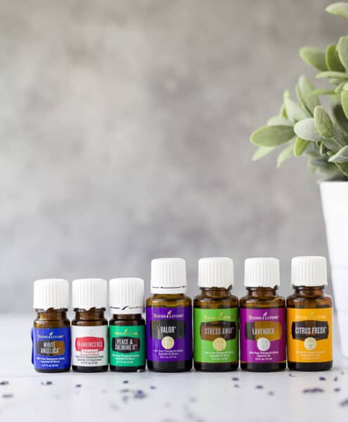 essential oils for anxiety lined up next to each other