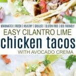 pinterest image for cilantro lime chicken tacos
