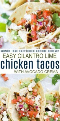 pinterest collage for cilantro lime chicken tacos
