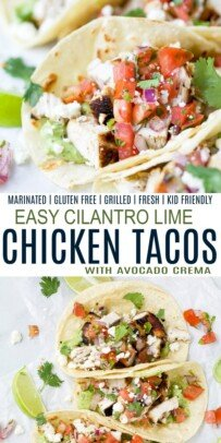 pinterest collage for easy cilantro lime marinated chicken tacos