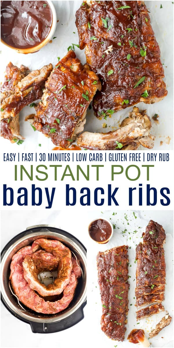 pinterest image for easy instant pot baby back ribs