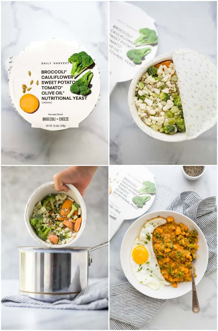 photo collage of how to make daily harvest bowls