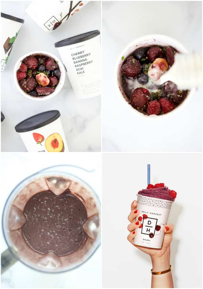 collage of how to make a daily harvest smoothie