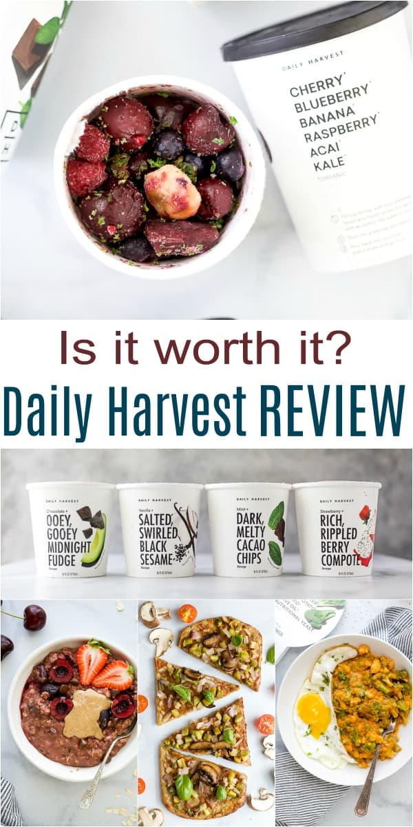 pinterest collage for honest daily harvest review
