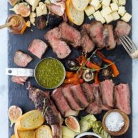 overhead photo of a steak charcuterie board