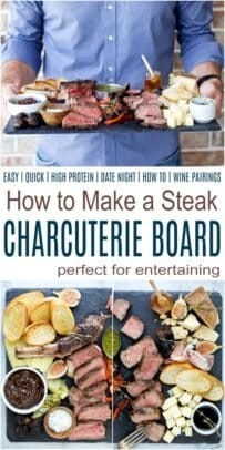 pinterest view for how to make a steak charcuterie board