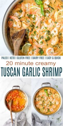 pinterest collage for tuscan garlic shrimp