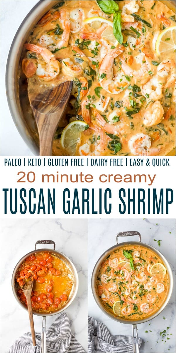 pinterest image for tuscan garlic shrimp