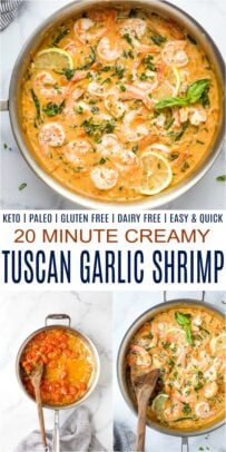 pinterest collage for creamy tuscan garlic shrimp