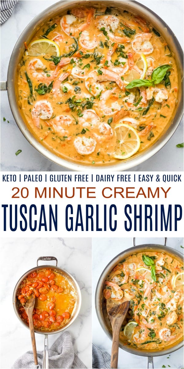 pinterest image for creamy tuscan garlic shrimp