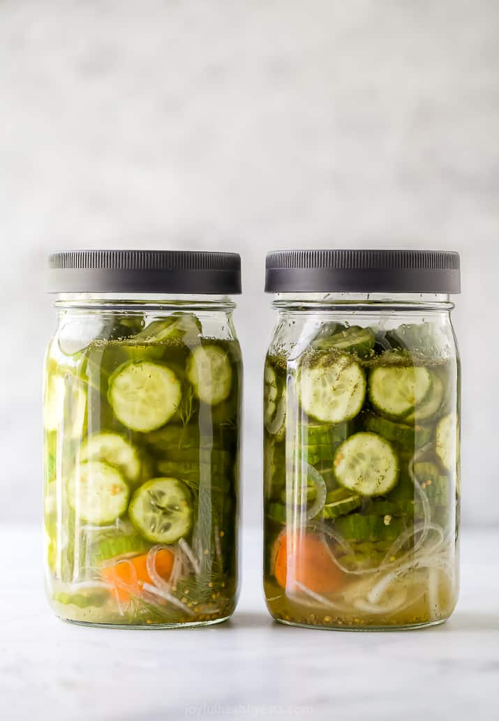 two jars with refrigerator dill pickles