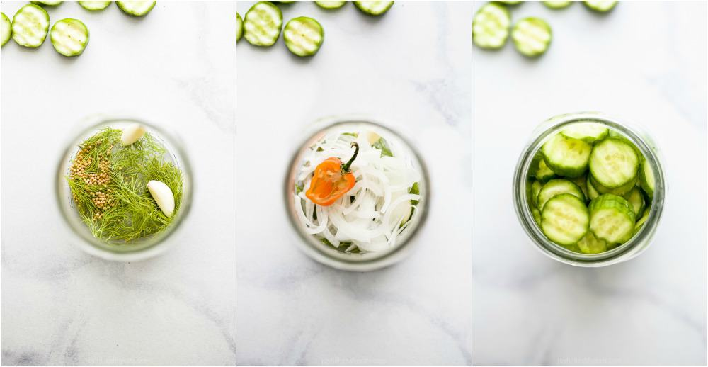 process photos of how to make dill pickles in a mason jar