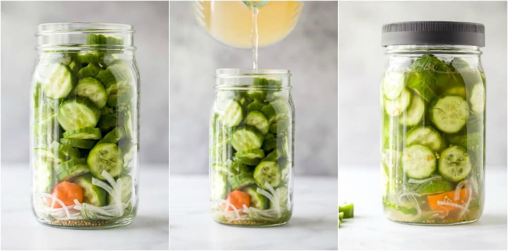 process photos of how to make sweet and spicy dill pickles