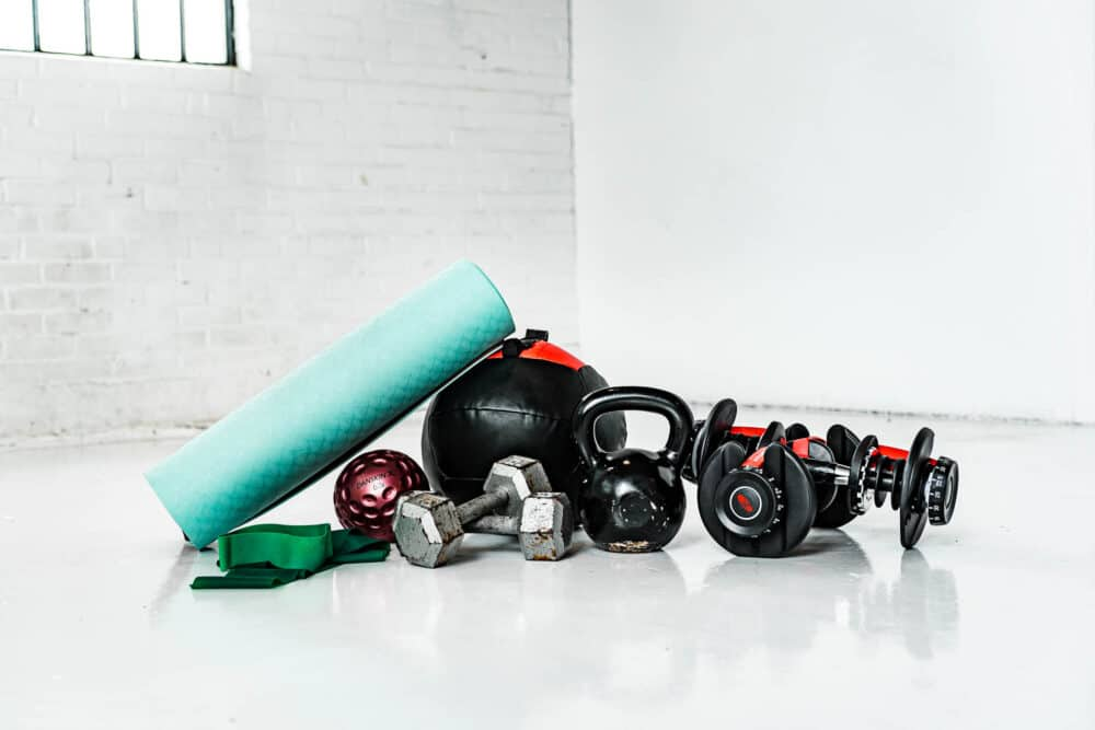 a pile of workout gear stacked together