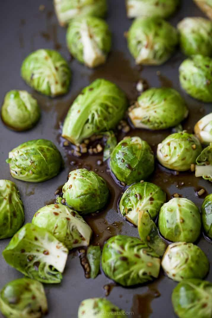 seasoned brussel sprouts on a pan