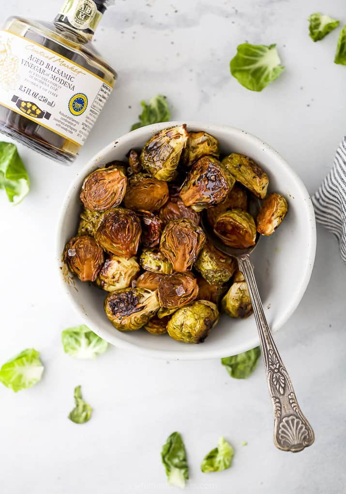 a bowl filled with balsamic brussel sprouts