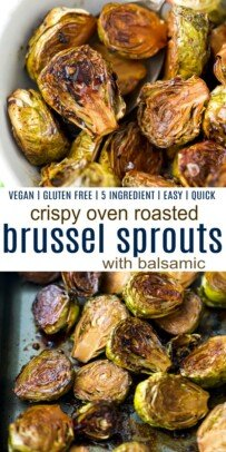 pinterest image for oven roasted brussel sprouts with balsamic