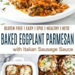 pinterest image for epic baked eggplant parmesan
