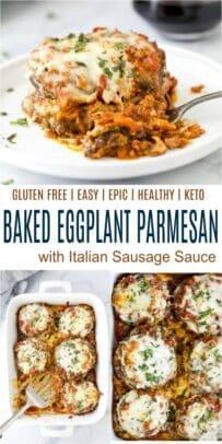 pinterest collage for epic baked eggplant parmesan