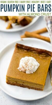 pinterest collage for vegan pumpkin pie bars