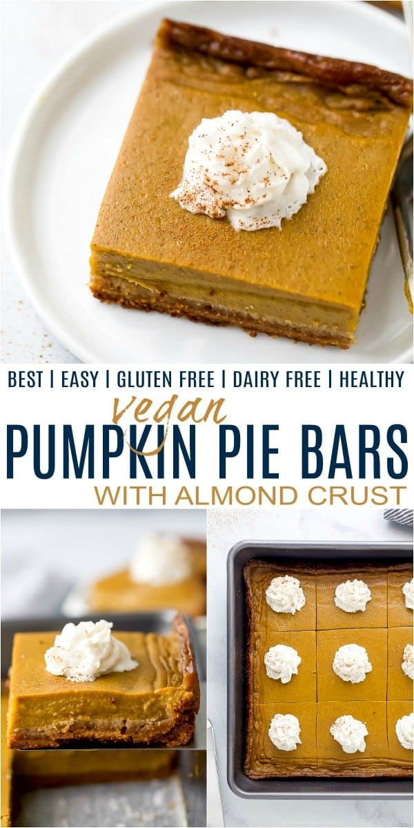 pinterest image for vegan pumpkin pie bars