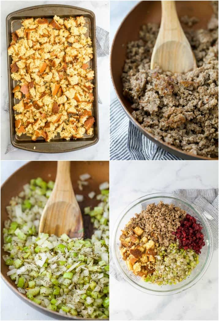 process photos of how to make cornbread sausage stuffing