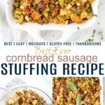 Pinterest collage for Cornbread Sausage Stuffing